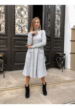 Модное теплое серое расклешенное платье