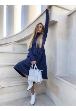 Модное теплое синее расклешенное платье