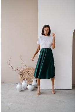 Шелковая изумрудная юбка миди