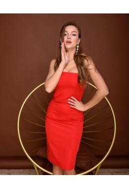 Платье корсет красное с юбкой из сетки