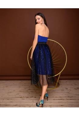 Платье корсет синее с юбкой из сетки