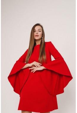 Платье красное с рукавами с широкими воланами