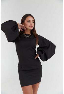 Платье черное с рукавами-фонарями