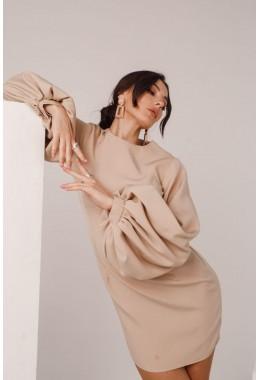 Платье бежевое с рукавами-фонарями