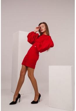 Платье красный с рукавами-фонарями