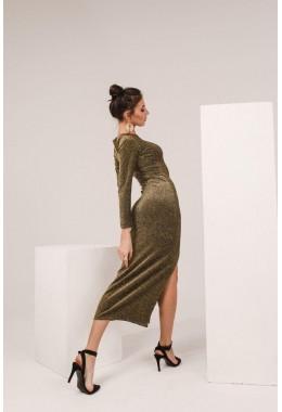 Вечернее платье с разрезом из люрекса