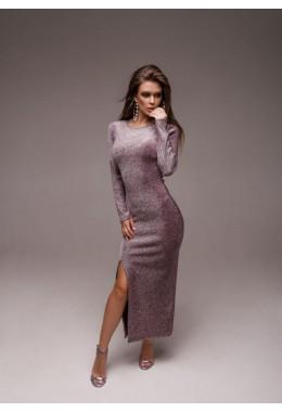 Вечернее бордовое платье с разрезом из люрекса