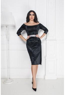 Вечернее платье черное с открытыми плечам