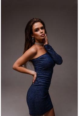 Вечернее синее платье с одним открытым плечем