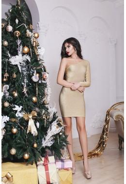 Вечернее золотое платье с одним открытым плечем