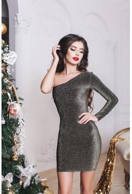 Вечернее черное платье с одним открытым плечем