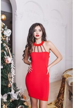 Коктейльное красное платье с чокером