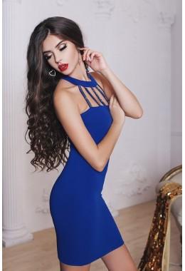 Коктейльное синее платье с чокером
