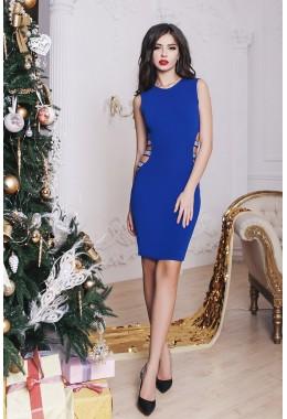 Коктейльное синее платье с вырезом