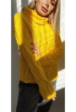 Свитер желтый с узорной вязкой