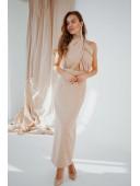 Платье бежевое длинное без рукавов