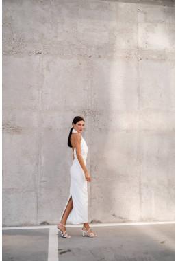 Платье белое длинное без рукавов