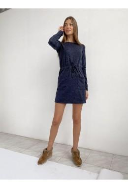 Теплое платье с карманами темно-синего цвета