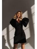 Шикарное черное  платье с рукавами-воланами