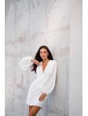 Шикарное молочное  платье с рукавами-воланами