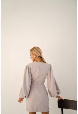 Шикарное серое платье с рукавами-воланами