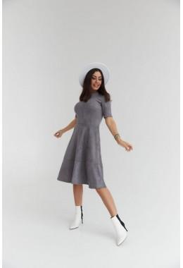 Замшевое платье с коротким рукавом