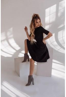 Замшевое черное платье с коротким рукавом