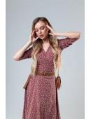 Легкое платье на запах цвета мокко