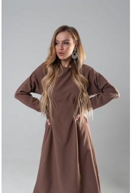 Весеннее романтическое платье шоколадного цвета