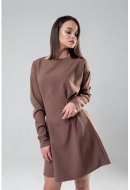 Романтическое шоколадное приталенное  платье