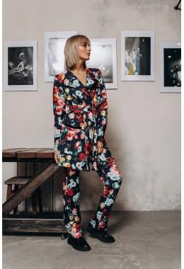 Стеганый  утепленный костюм в цветы