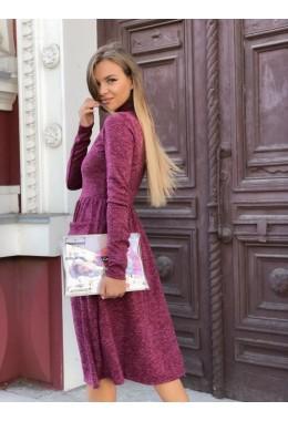 Модное бордовое теплое расклешенное платье