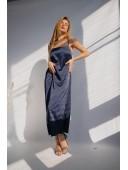 Нежное темно-синее платье на бретельках