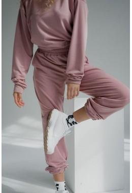 Спортивные пудровые брюки