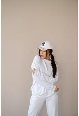 Спортивная белая кофта-реглан