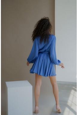 Шелковое платье на запах джинсового цвета