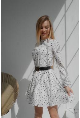 Легкое белое платье в горошек