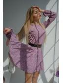 Легкое платье цвета розы в горошек