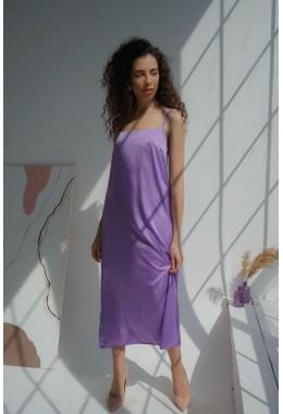 Нежное лавандовое платье на бретельках