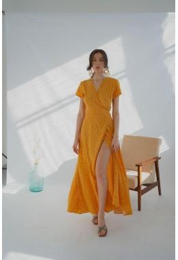 Платье в пол в горох на запах желтое