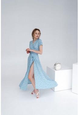 Платье в пол в горох на запах голубое в крупный горох