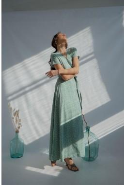 Платье в пол в горох на запах мятное