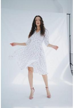 Легкое платье на запах белое с бежевым цветом