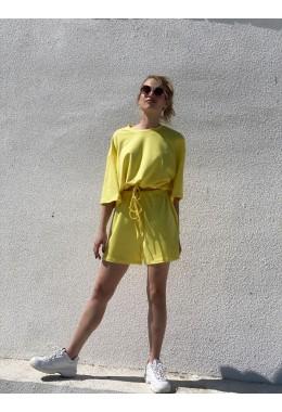 Спортивный костюм с шортами цвета лимон