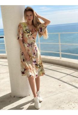 Цветочное платье на запах оливковое