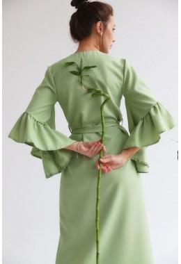 Универсальное платье-кардиган цвета оливка