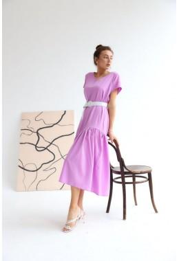 Нежное яркое лавандовое платье