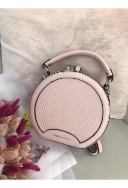 Сумка-круг перфорация розовая