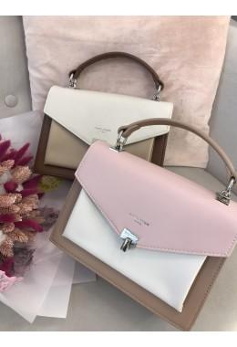 Модная сумка молочно-коричневая