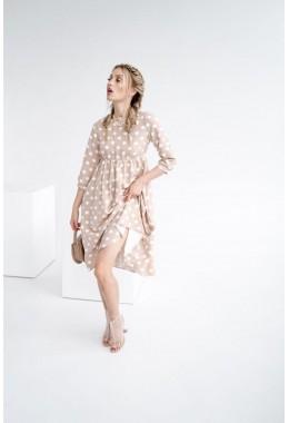 Модное бежевое платье в горошек